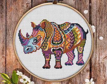 Mandala Rhinoceros Cross Stitch Pattern for Instant Download - 287| Lovely Cross Stitch| Room Decor| Needlecraft Pattern| Easy Cross Stitch