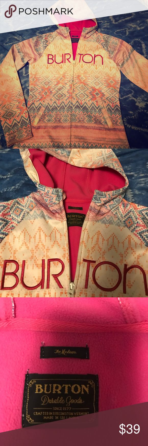 Burton jacket size medium The is a used Burton jacket, size medium.  It is has a multi color print with a dark pink fleece lining.  This is a used hoodie, size medium, runs small.  Perfect for fall. Burton Jackets & Coats