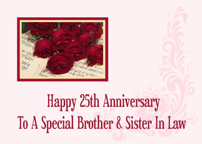 Brother And Sister In Law 25th Anniversary Card Ad Ad Law Sister Brothe Wedding Anniversary Cards Anniversary Invitations Anniversary Wishes For Wife
