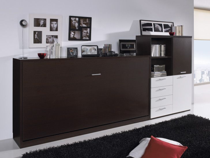 Simple Design Murphy Bed Ideas With Dark Brown Color Wooden Frames And Horizontal