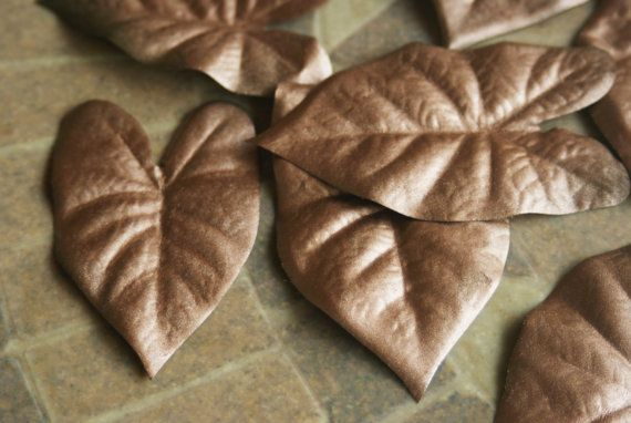 Leaf Table Scatter Metallic Bronze Leaves Autumn by Teakberry