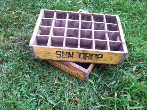 Vintage wood sun drop soda crate danville va by misfitzz for Wooden soda crate ideas