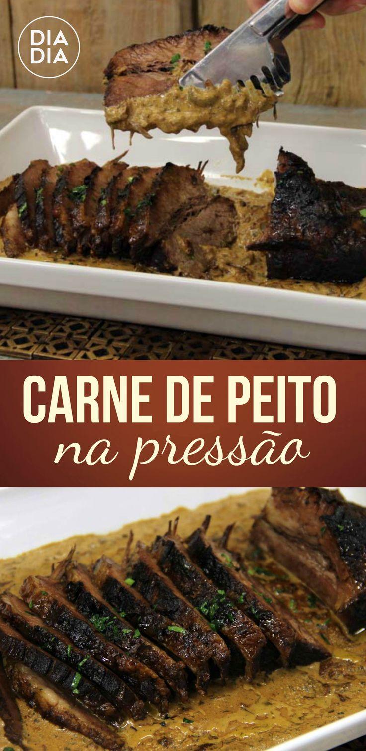 Carne de peito na pressão