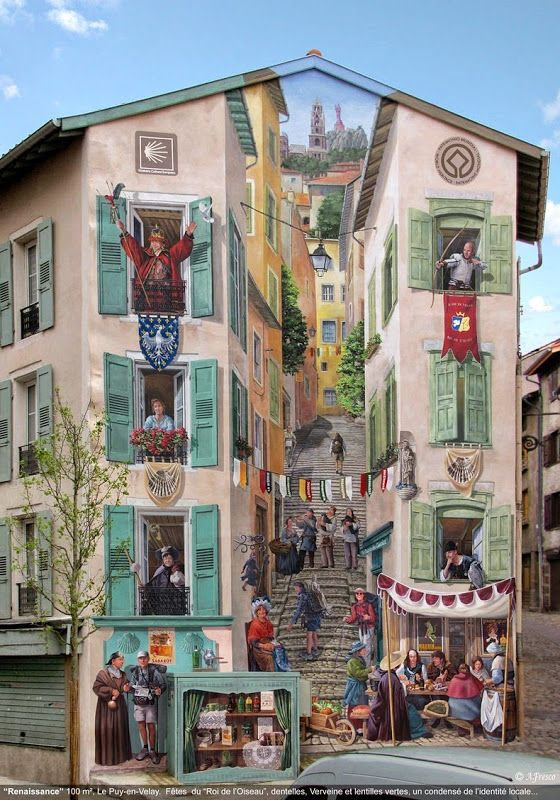 French artist Patrick Commecy and his team of muralists transform dull and boring facades around France into vibrant scenes full of life...