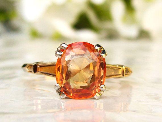 Vintage Orange Sapphire Engagement Ring by LadyRoseVintageJewel