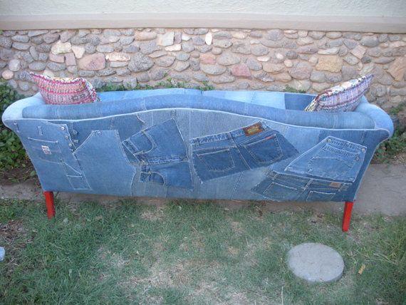 My Blu Jean Furniture Antique Roll Back Sofa by TexasFanny on Etsy, $1200.00