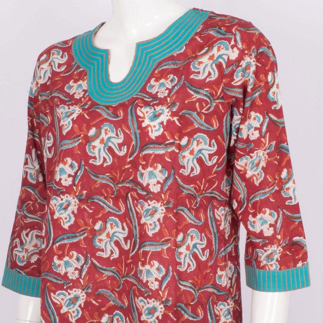 Buy online Hand Block Printed Cotton Tunic with 3/4th Sleeve 10007513