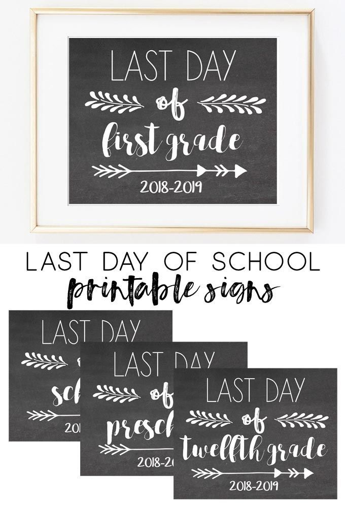 photograph relating to Last Day of School Printable named final working day of university printable indication 2019 Hometalk: Do-it-yourself