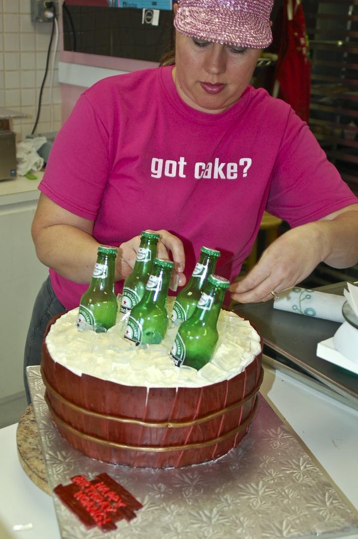3-D Heineken Ice Bucket Cake with Vodka Jello Shots