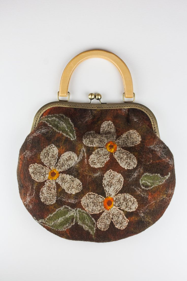 #felted #bag decorated with #silk #flowers
