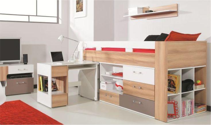 Lit mi-haut avec bureau et commode gain de place pour chambre enfant / adolescent. Couchage : 90x200 cm. Certification du bois écologique. Garantie 24 mois. Fabrication Européenne.