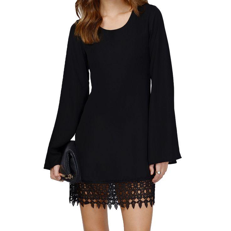 Aliexpress.com: Comprar Gasa del cordón del vestido Mini manga larga, mujeres Shift ganchillo Hem negro blanco Vestidos Femininos de vestido de swing fiable proveedores en Moda Home