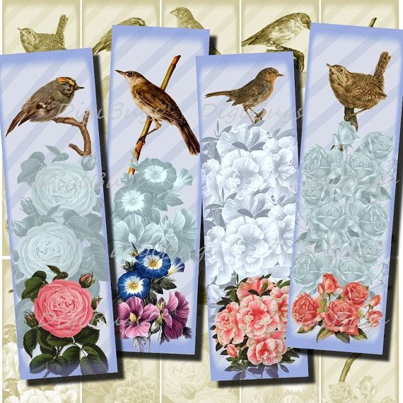 Printable Bookmarks - Romantic Flowers and Birds - Vintage Images, Blue Shades, Instant Download, Digital File - DigiBugs