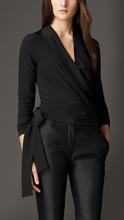 Black or white, this Burberry silk wrap top is beautifully draped and I love the big tie bow detail!