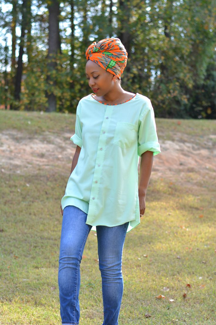 diy men's button up shirt into a tunic top, men's shirt refashion, shirt refashion, upcycle husband's old shirts and give them a new life, thrift store clothes refashion, men's shirt restyled into a tunic top, diy tunic top with ankara african print trimmed collar and matching head wrap, recycle old button up shirts