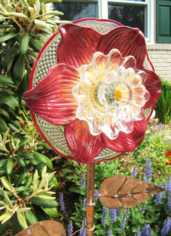 Glass Garden Flower, Yard Art, Flower Plate, Upcycled Glass, Glass Plate  Flowers, Purple, Vintage Glass, Garden Gift, Garden Gift, Birthday