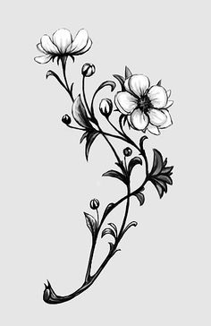 black and grey tattoo flowers blossoms branch girl back - Sök på Google