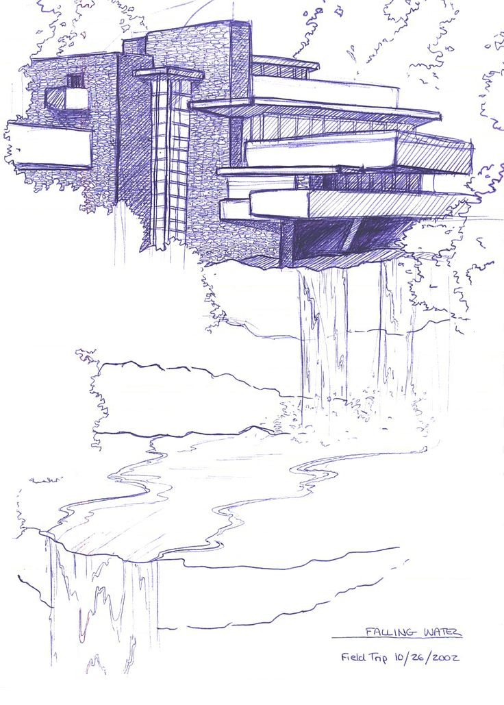 Sketch falling water house recherche google cr ativit for Croquis de maison
