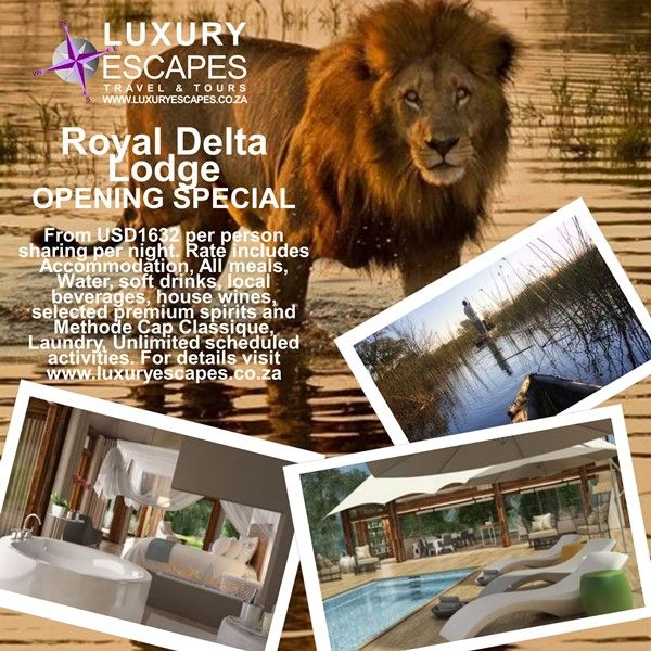 OPENING SPECIAL for Royal Delta Lodge Okavango Delta, Botswana from USD1632 per person sharing per night. Rate includes Accommodation, All meals, Water, soft drinks, local beverages, house wines, selected premium spirits and Methode Cap Classique, Laundry, Unlimited scheduled activities. For more visit www.luxuryescapes.co.za