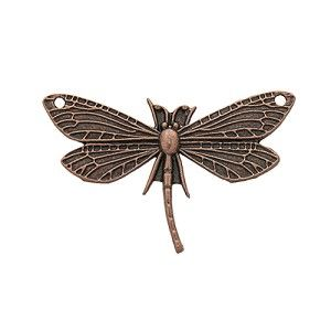Antique Copper Pewter Dragonfly Pendant/Connector, 48x28mm