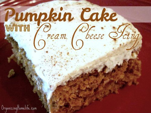 Pumpkin Cake with Cream Cheese Icing:  2 cups sugar  4 eggs  3/4 cup vegetable oil  2 cups pumpkin or 1 – 15-oz. can  2 cups flour  2 tsp. cinnamon  2 tsp. baking soda  1/2 tsp. salt  Mix all in bowl, 13x9 pan, bake 350, 35min...Icing: 1 stick butter, softened  1 lb. box confectioners sugar (or half of a 2 lb. bag)  8 oz. cream cheese, softened  2 tsp. vanilla.. mix all together 3-5min