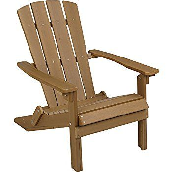 Amazon.com : Folding Composite Adirondack Chair - Brown : Patio, Lawn & Garden