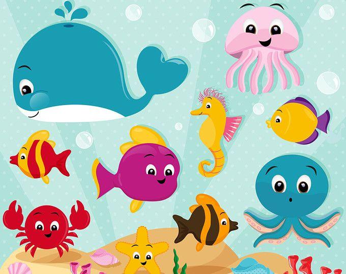 Mar Imágenes Prediseñadas, imágenes prediseñadas de animales de mar, criaturas del mar, imágenes prediseñadas de vida marina, animales del océano, ballena imágenes prediseñadas - CA434