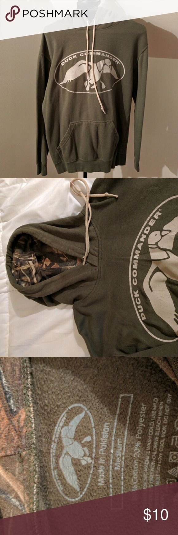 Duck Commander Olive green with camouflage lined hood Duck Commander   Shirts Sweatshirts & Hoodies
