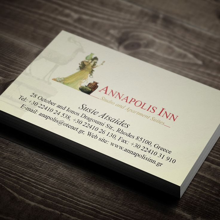 Simple & elegant business card for a hotel in Rhodes Island.