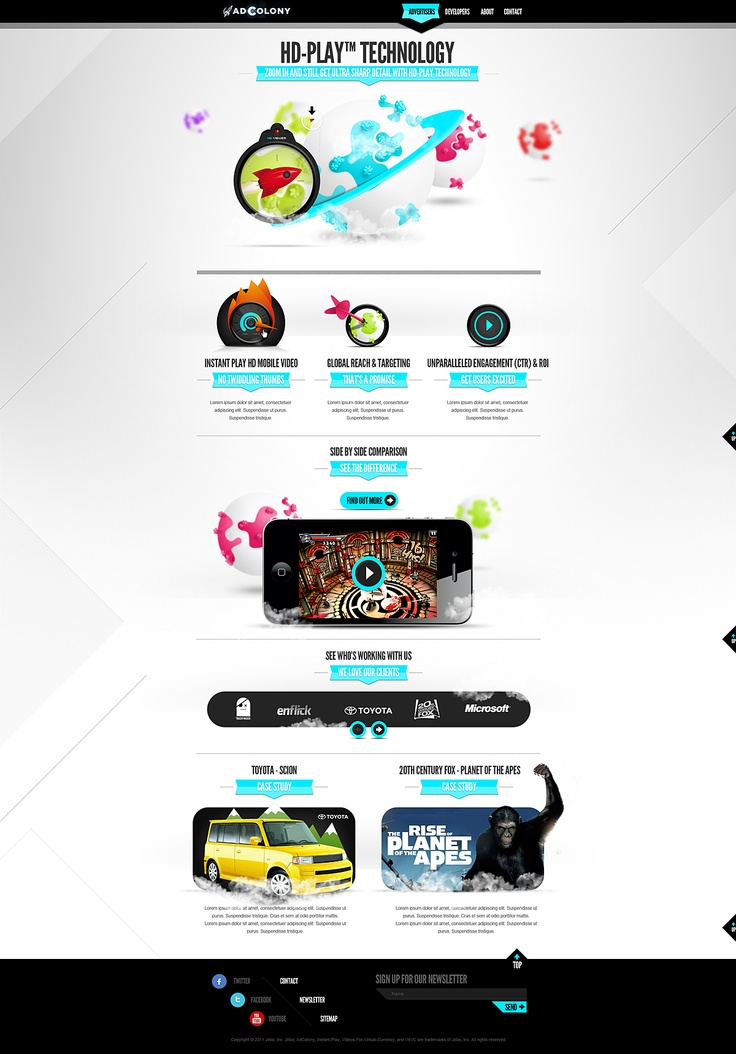 Unique Web Design, AdColony @youngchulkim #WebDesign #Design (http://www.pinterest.com/aldenchong/)