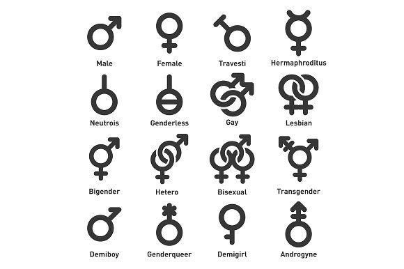Gender Icons Set Icon Set Icon Pictogram Design
