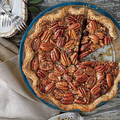 Tennessee Whiskey-Pecan Pie | We love the combination of pecans and smoky-sweet bourbon in the thick, rich pie filling. For a booze-free pie, substitute apple juice for the whiskey in the filling, and serve with plain sweetened whipped cream or enjoy it without.