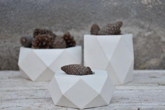 Geometrico cemento vasi vasi set di 3 Fioriera in di FactoLab