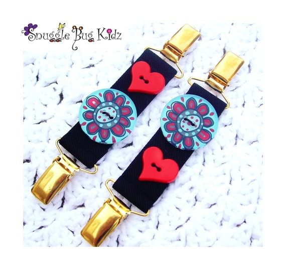 I truly Love you... Turquoise and Red Button Mitt Clips by Snuggle Bug Kidz