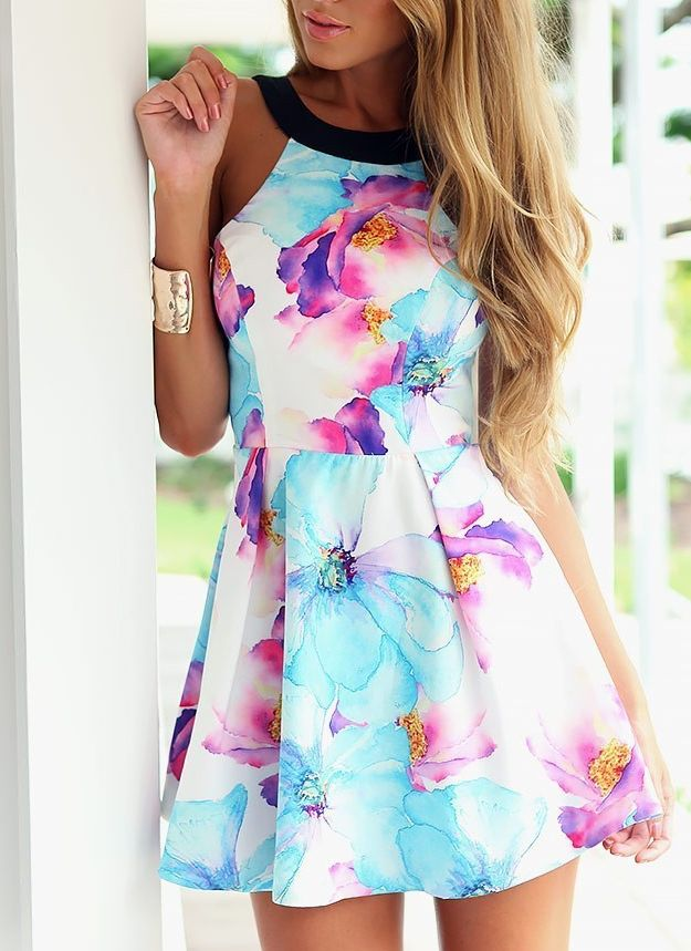 Romantic Blue & Purple Flower Halterneck Dress