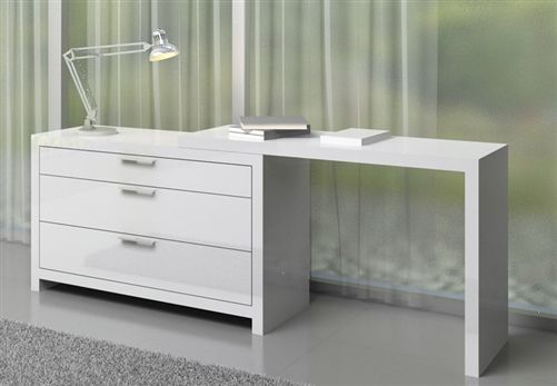Vercelli White Lacquer Three Drawer Desk With Its