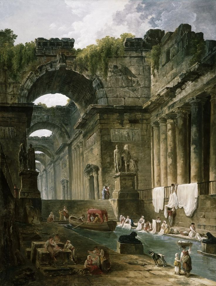 The Athenaeum - Ruins of a Roman Bath with Washerwomen (Hubert Robert - )