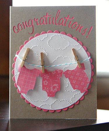 card: onsies on clouds (also embossing in circle - cute!)