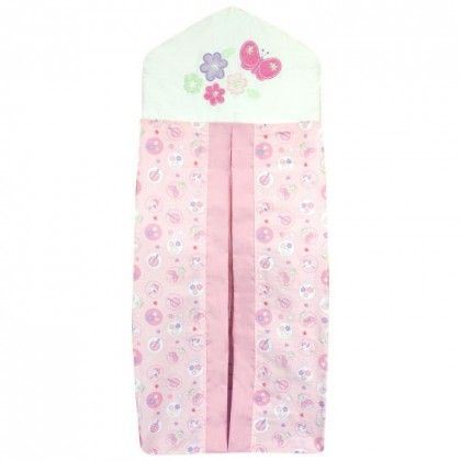 Bubba Blue Butterfly Garden Nappy Stacker.  The Bubba Blue Nappy Stacker from the Butterfly Garden range is a must for any nursery. The cotton and polyester blend will hold a pile of nappies in a neat, orderly fashion and will make a wonderful addition to your changing space. The hook at the top ensures the stacker can be hung wherever you need it most and the opening at the front allows you to access nappies quickly and with ease.