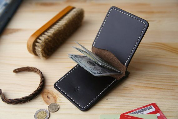 Leather Money Clip Wallet Mens leather wallet by Manufacturabrand
