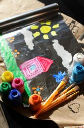Make a foil painting using foil covered cardboard, thick tempera paint with 1 tsp dishwashing liquid.