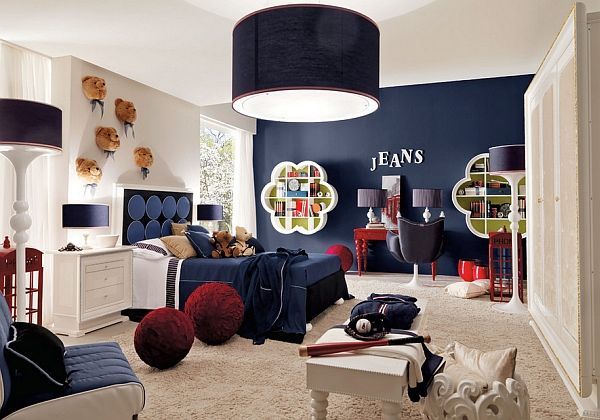 Gorgeous dark blue accent wall enlivens the room decoist for Boys room accent wall