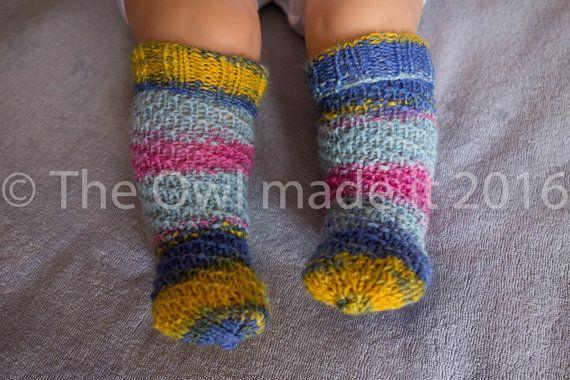 Baby girl socks hand knitted baby sockshandknit by TheOwlmadeit