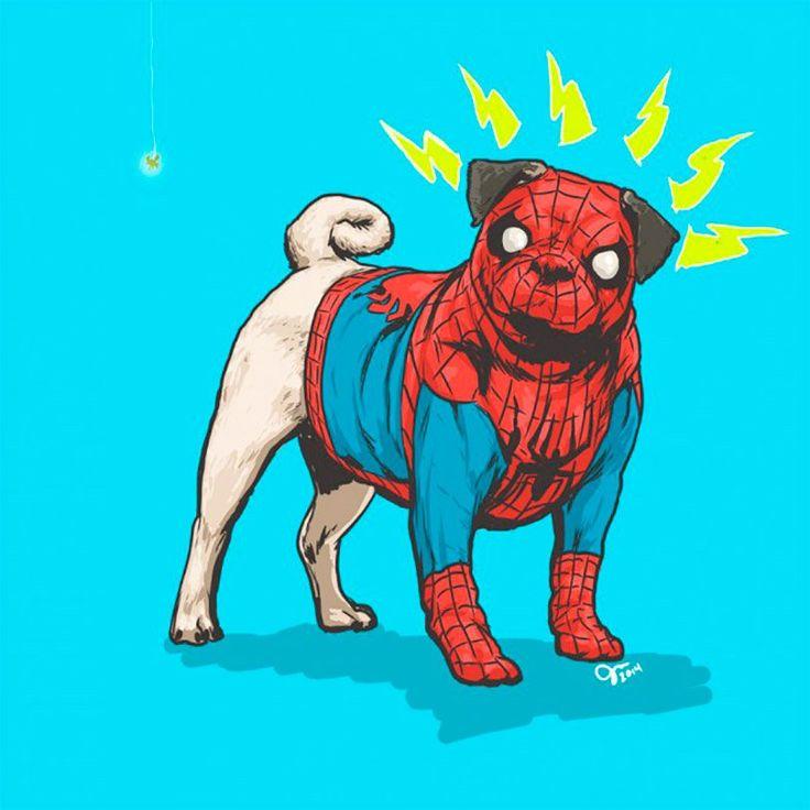 Heróis e vilões da Marvel como cachorros