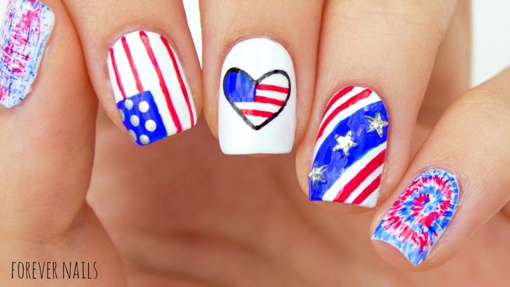 Fourth Of July Nail Tutorial #fourthofjulynails #nails #usanails #nailtutorial #…
