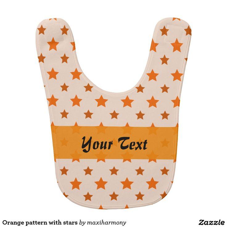 Orange pattern with stars baby bibs