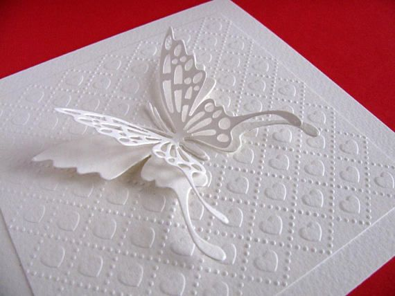 Large Layered Butterfly on Embossed Heart Panel on Creamy handmade by  aboundingtreasures  on etsy.ca