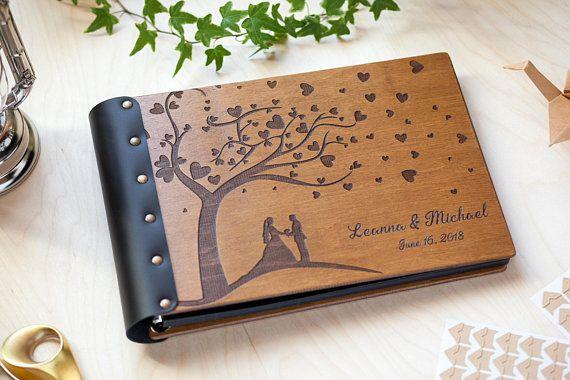 Personalised Family Love Wooden Scrapbook Photo Book Memory Album Gift