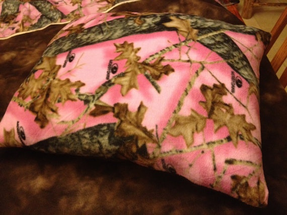 Mossy Oak Pink Camo and Brown Fleece pillow by DeepSouthHomespun, $18.00