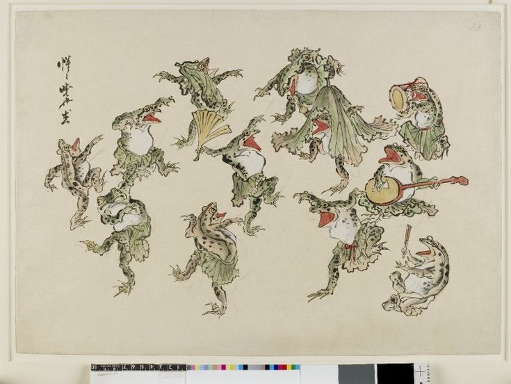 Sketch. Frogs dressed in lotus leaves dancing to drum and samisen. Ink and colours on paper.